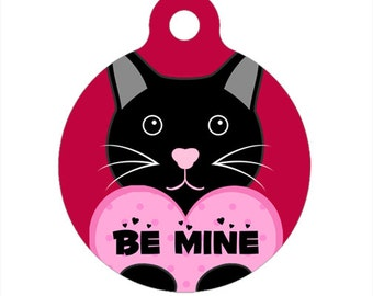 Happy Valentine's Day Kitty Cat Pet Tag, Luggage Tag, Child ID Tag