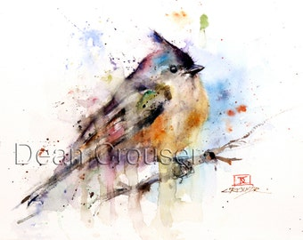TUFTED TITMOUSE Watercolor Bird Art Print by Dean Crouser
