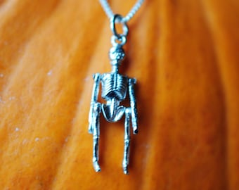 sterling silver Halloween skeleton charm necklace, with movable arms and legs!