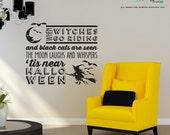 When Witches go Riding Halloween wall decals - Halloween Decoration - Vinyl Wall Decal Sticker Art