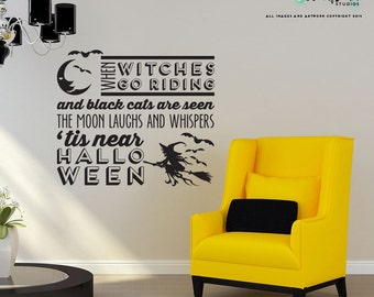 When Witches go Riding Halloween wall decals - Halloween Decoration - Vinyl Wall Decal Sticker Art