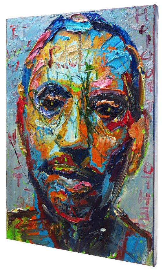 SOLD - Oil Paint on Gallery Wrapped Stretched Canvas 30 by 20 by 3/4 in. ,Original Oil Painting, Man Art Portrait Large Male, oil painting,