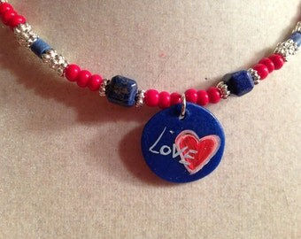 Red Blue Necklace - Love Pendant - Patriotic Jewellery - Silver Jewelry - Fashion - Beaded - Lapis Gemstone - Wood