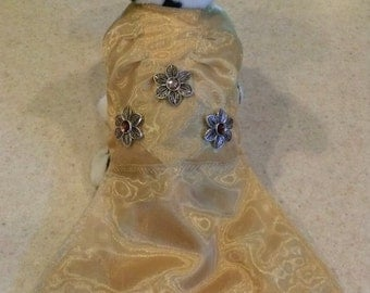 Gold Dog Dress with sheer fabric overlay hand beaded designer dress extra long length formal gown