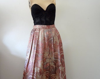 1980s Floral Brocade Skirt / pleated aline party skirt / vintage spring fashion