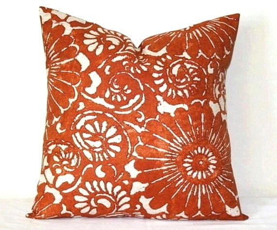 Burnt Orange and Beige Decorative Pillow 18 inch Throw Pillow