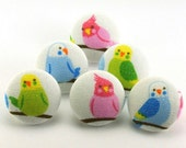 Pushpins Parakeet Colorful Birds  / Japanese Fabric /  Covered Button -  Pushpin - Shank - Thumb Tack - Craft Button - Magnet - Sparkle 109