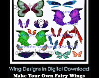 INSTANT DOWNLOAD OoAk Light and Dark Fairy, Dragonfly, etc. Wing designs and tutorials - Make  Wings, Altered hats for Art Dolls, Bears+MORE
