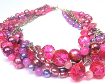 Summer Pink And Purples Statement Necklace, Multiple Strands Torsade, High Fashion Style, Mod Style, Elegant OOAK