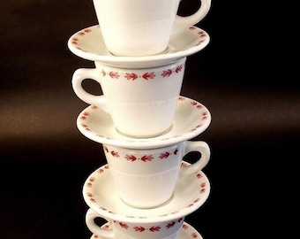 New Old Stock Restaurant ware Shenago China Coffee Cups and Saucers, Red Leaf, Lauretian Pattern, Pink on White, set of four