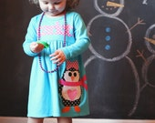 Penguin Dress, Penguin Applique Dress, Personalized Dress with Penguin, Winter Dress