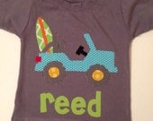 Beach Truck Shirt, Surfboard Shirt, Truck Applique, Summer Boy Shirt You Choose Shirt Color, Sleeve Length