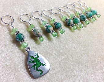 Gecko Knitting Stitch Marker- SNAG FREE Beaded Stitch Markers- Crochet Tools- Lizard- Gifts for Knitters