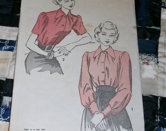 Vintage 1940s Advance Pattern 4763 for Misses Blouse Size 16, Bust 34""
