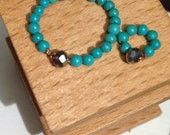 Tiny turquoise necklace and bracelet set - dollhouse size