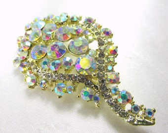 Vintage style Crystal AB 2 3/4 inches Large Gold cascading brooch for bouquet or jewelry decoration