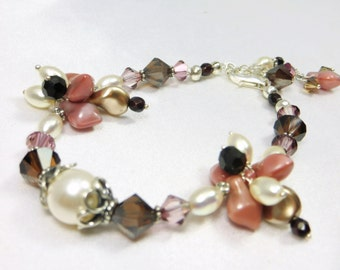 Mauve Pink Ivory and Brown Bracelet with Mookalite Stones, Freshwater Pearls, Swarovski and Czech Spades - all Sterling Silver