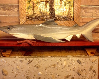 "Bull Shark 50"" chainsaw wood shark carving nautical home decor maritime accent ocean art original indoor or outdoor woodworking wall mount"