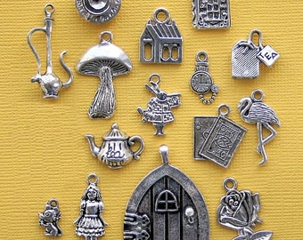 Alice in Wonderland Charm Collection Antique  Silver Tone 16 Charms - COL273