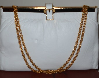 Lovely White Purse - Goldtone
