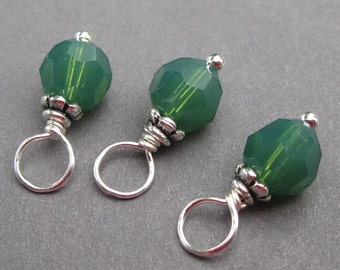 Palace Green Opal Swarovski Crystal Charms, Stitch Markers, Wine Charms, Bead Dangles, Interchangeable Earrings, 6mm Swarovski Crystal Beads