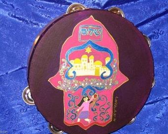 """Miriam Hamsa red sea crossing 7""""inch Burgandy hand painted Tambourine"""