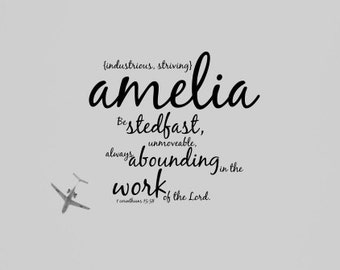 Amelia art Girl name Bible verse woman Christian quote Scripture typography Christening Baptism Blessing Nursery decor Childrens room Gift