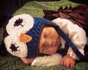 Boys Owl Hat, Newborn to Teens hat, winter hat, photography prop, earflap hat, owl hat, baby shower gift, newborn hat, toddler hat, fall hat