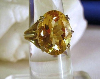 Golden Yellow Citrine Ring Sterling Silver Large size 20x15mm Faceted Oval handmade fine jewelry 4 4.5 5 5.5 6 6.5 7 7.5 8 8.5 9 9.5 10