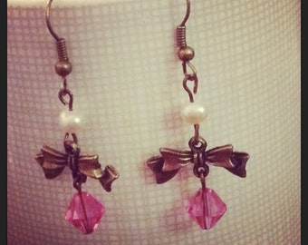 Candy pink bow earrings