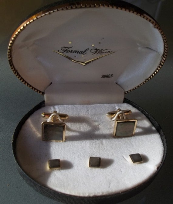Items similar to swank cuff links and tuxedo shirt stud for Tuxedo shirt without studs