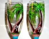 Palm Trees Hand Painted Champagne Flutes Beach Wedding Theme Wedding Anniversary Set of 2 / 6 oz Handpainted Toasting Flutes Wedding Flutes