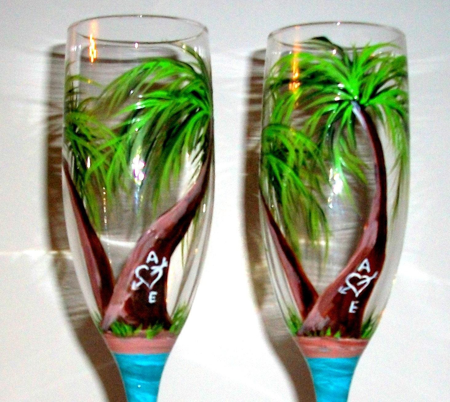 Beach Champagne: Palm Trees Hand Painted Champagne Flutes Beach Wedding Beach