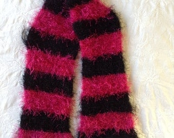 Fuzzy, Fun, Pink and Black Striped Scarf