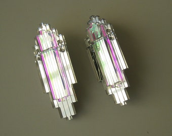 EMPIRE Art Deco Statement Earrings - Iridescent Silver Mirror Laser Cut Jewel Acrylic Perspex
