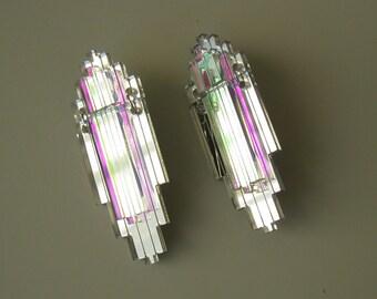 EMPIRE Art Deco Statement Earrings - Iridescent Silver Mirror Laser Cut Jewel Acrylic Perspex