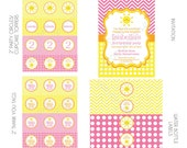 DIY -  Printable: You are my Sunshine Birthday Party Set -  16 items (invitation, party circles, water bottle labels, banner and more)
