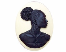 Black Cameo 1pc 40x30 Afro Centric tribal jewelry Africa cabochon African American woman Blackamoor Nubian Resin Cameo jewelry charm  718x