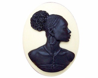 Black off white ethnic Cameo 1pc 40x30 Afro Centric tribal jewelry Africa cabochon African American woman Blackamoor Nubian Resin charm 718x