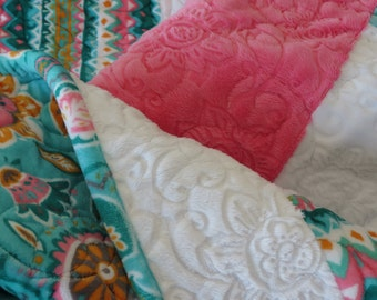 Soft Cuddle Fabric Lap Quilt for Adult, Child or Toddler Throw Blanket