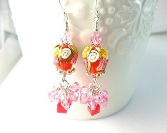 Lampwork Earrings,  Tulip Flower Earrings, Red Dangle Earrings, Glass Bead Earrings, Beadwork Earrings, Lampwork Jewelry