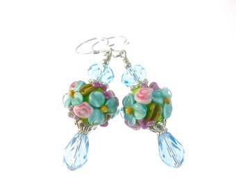 Teal Flower Lampwork Earrings,  Floral Glass Bead Earrings, Glass Bead Jewelry, Pretty Beaded Earrings, Lampwork Jewelry, Beadwork Earrings