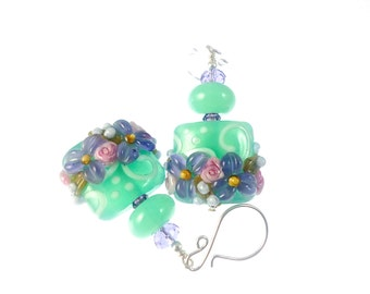 Lampwork Earrings Glass Bead Earrings Lavender Flower Earrings Glass Bead Jewelry Mint Green Beadwork Earrings Lampwork Jewelry
