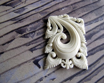 Tri Hita Karana Carved Bone Cabochon 42mm