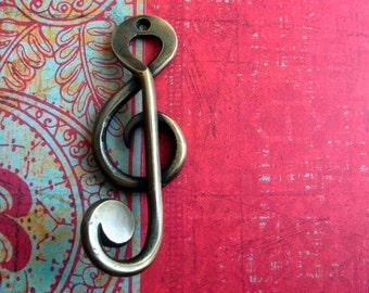 Treble Clef Music Note Brass Coat Hook
