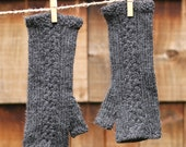 Basket weave Gauntlets - women's long cabled fingerless mittens in charcoal