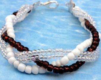 Amber and White Braided Bracelet
