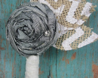 Boutonniere SALE - silver boutonniere - country chic wedding - rustic wedding  - groom - groomsmen