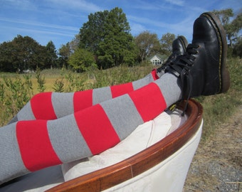 Wide Striped Thigh High Socks Red Gray Leg Warmers Boot Sock Stripe Cotton Sweater Knit A1192