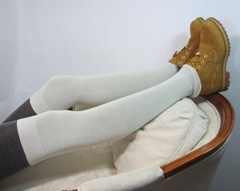Thigh High Leg Warmers Knit Socks for Women Ivory Putty White Cotton lightweight Footless A1401